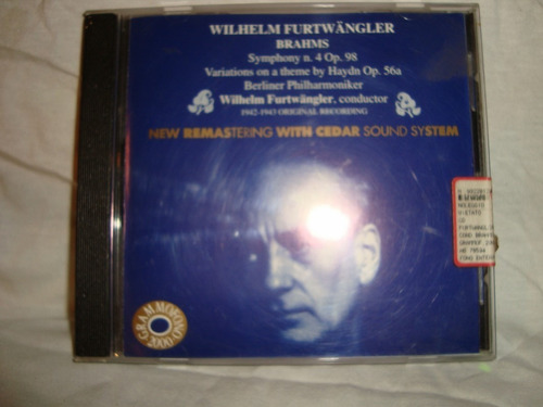 brams wilhem furtwangler symp. 4 op 98 audio cd en caballito