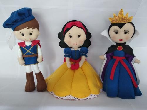 branca de neve os 7 anões o príncipe e a bruxa em feltro
