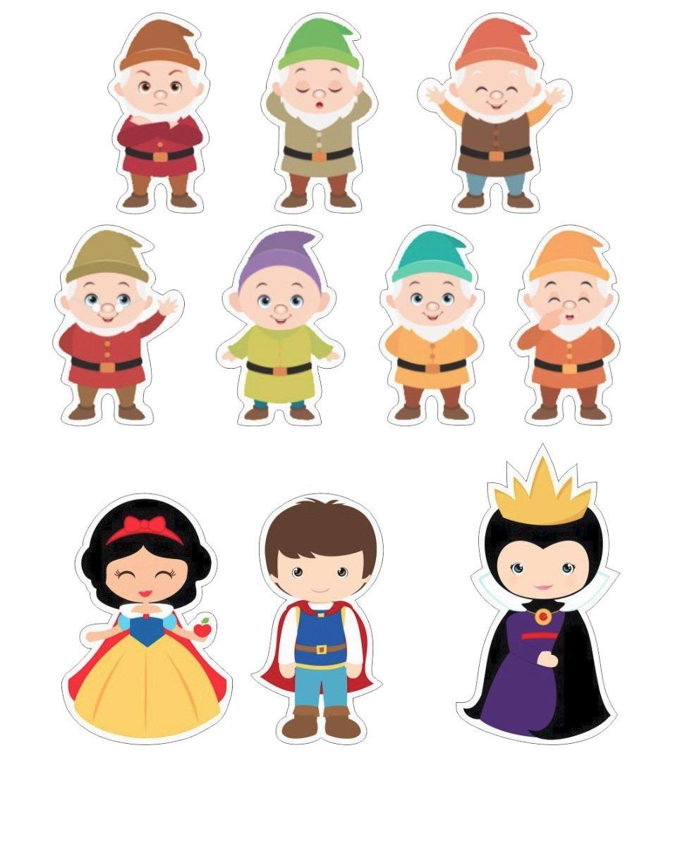 Branca Neve Cute Todos Personagens 42 Apliques Frete