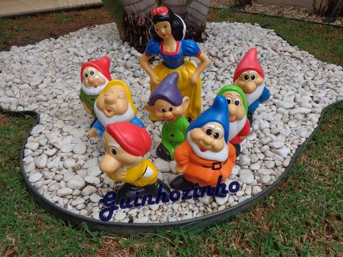 branca neve e os 7 anões enfeite jardim em cerâmica 40cm
