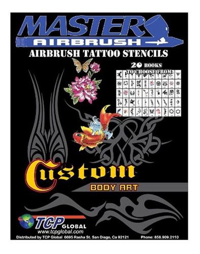 brand airbrush tattoo stencils set book  reuseable tat...