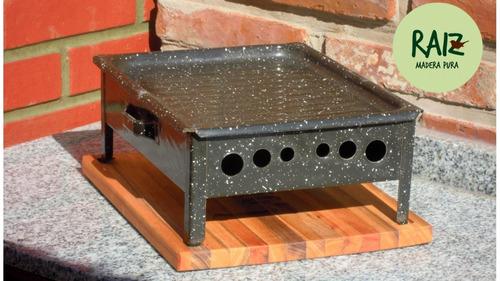 brasero de mesa de hierro + madera