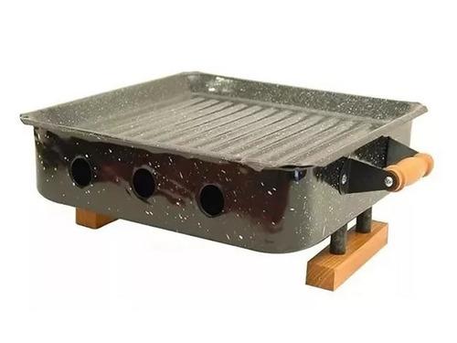 brasero de mesa premium con asas de madera oferta parrilla