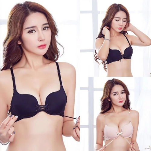 brasier bra doble push up escote profundo con cintas