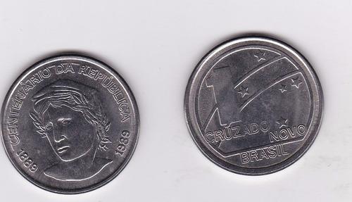 brasil - 1 cruzado novos, cent. rep, 1989, moeda de aço, fc