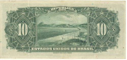 brasil - 10 mil réis, r-110d, 1942, cédula da repúb. (sob)..