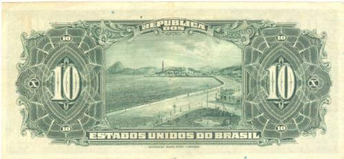 brasil - 10 mil réis, r-110d, 1942, cédula da república.