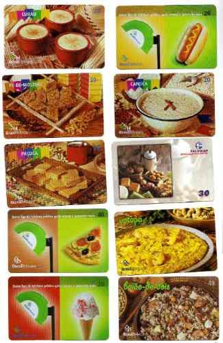 brasil 10 tarjetas telefonicas tematicas de comidas