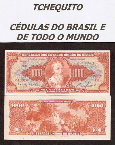 brasil 1000 cruzeiros c105 s/fe cédula - tchequito