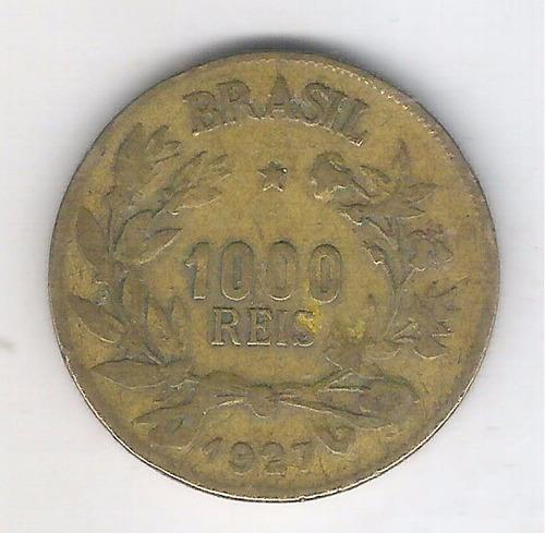 brasil 1000 réis 1927 mbc bronze-alumínio