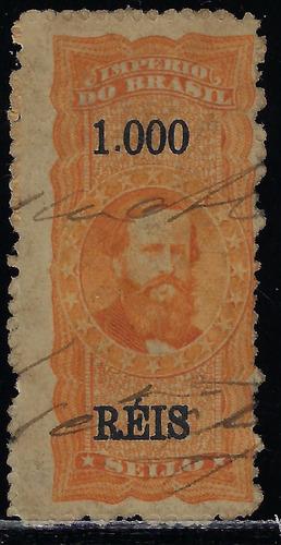brasil 1869 selo fiscal 1$ com ponto papel branco leganda