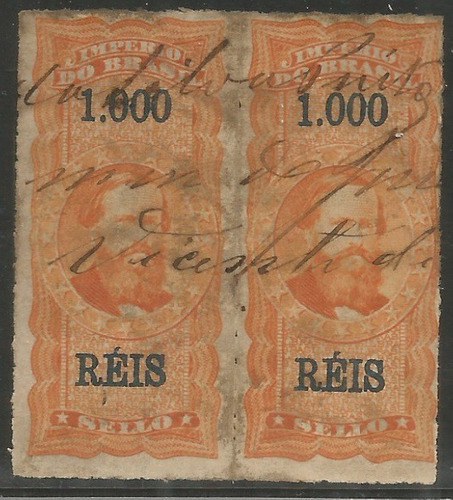 brasil 1877 selo fiscal 1$ percê par obliterados a pena