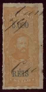 brasil 1877 selo fiscal 5$ percê obliterado a pena