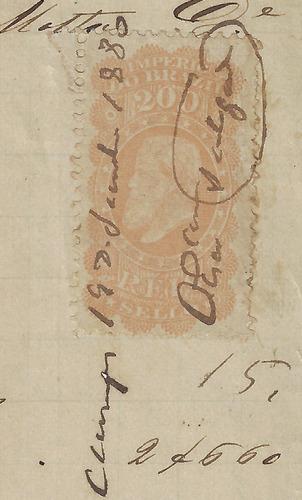 brasil 1880 recibo com selo fiscal d. pedro ii 200 réis