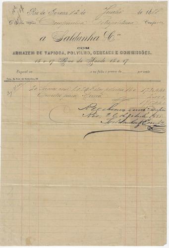 brasil 1888 nota fiscal armazém de tapioca polvilho cereais