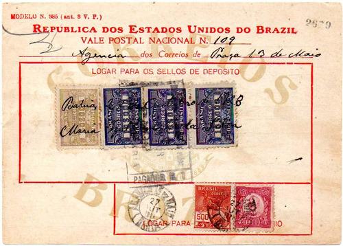 brasil 1928 vale postal de 80$000 com 1000 réis ruy barbosa