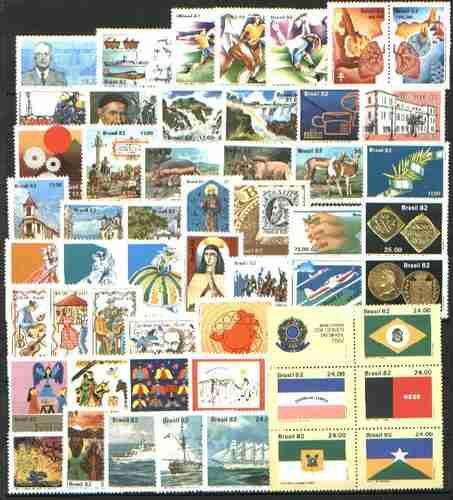 brasil - 1982 - 52 selos comemorativos sem carimbo.
