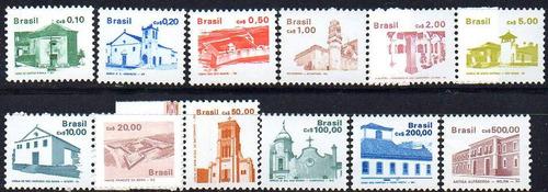 brasil 1986/88. serie completa de arquitectura, nueva (12)