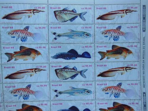 brasil 1988 peixes agua doce espécies folha completa