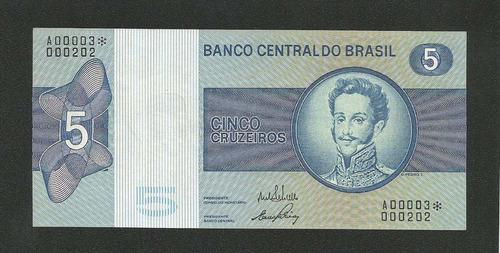 brasil 5 cruzeiros c133a s/fe céd. asterísco sér 3 tchequito