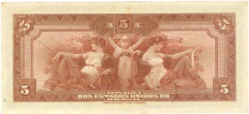 brasil - 5 mil réis, r-100b, 1936, cédula república (sob/fe)
