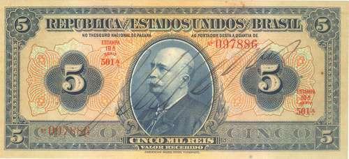 brasil - 5 mil réis, r-100c, 1942 - cédula da república(fe-)