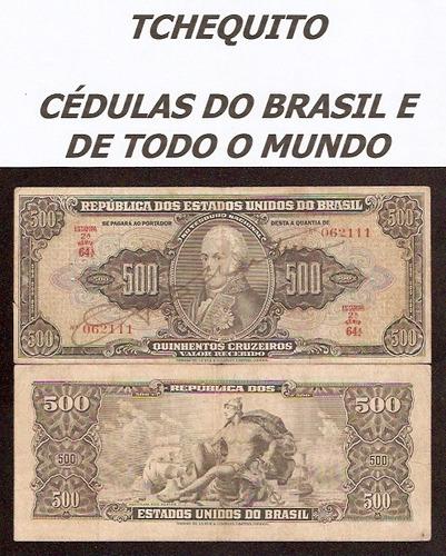 brasil 500 cruzeiros c099 mbc cédula autografada - tchequito