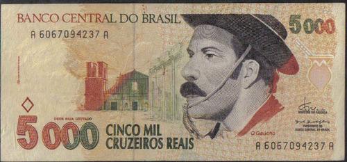 brasil, 5000 cruzeiros reales nd1993 p241