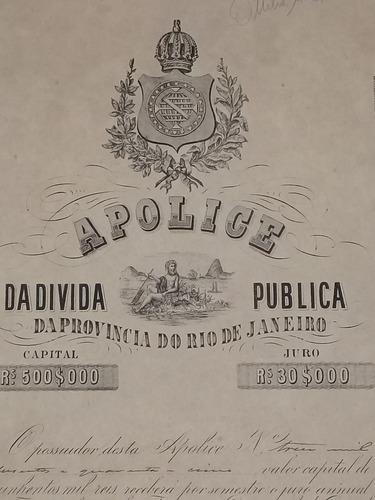 brasil apolice 1873 imperio 500000 reis provincia do r.j.