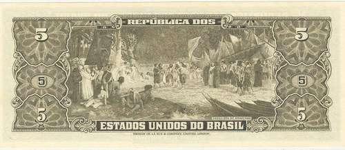 brasil - c-073a, cédula de 5 cruzeiros, 2ª estampa, 1964, fe