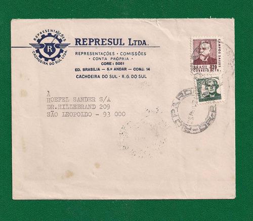 brasil-envelope circulado via estada de ferro/vfrgs - 1971!!