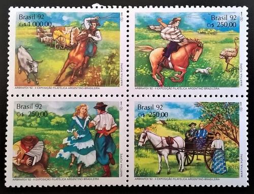 brasil fauna, serie yv 2056-9 caballos arbrafex mint l12574