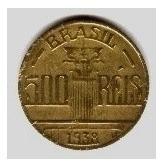 brasil moeda de 500 réis 1938 regente feijó mbc/sob coleção