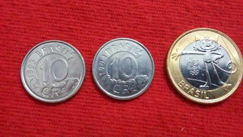 brasil, moedas antigas, 10 cruzeiros reais 1993/1994 l175