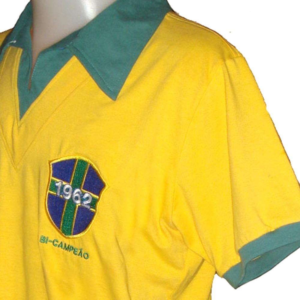 Carregando zoom... camisa retro brasil 1962 seleção brasileira alusiva copa  62 abcec037949f9