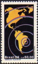 brasil serie x 1 sello mint mapa américas = espacio año 1988
