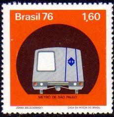 brasil serie x 1 sello mint tren metro de san pablo año 1976