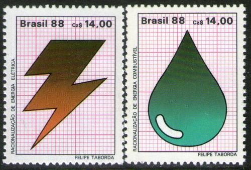 brasil serie x 2 sellos mint energía eléctrica y fósil 1988