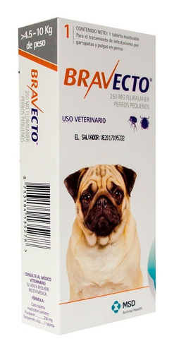 bravecto 4.5 - 10 kgs pastilla antiparasitaria pethome chile