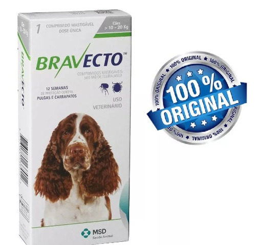 bravecto anti pulgas/ carrapatos pcães de 10kg a 20kg full