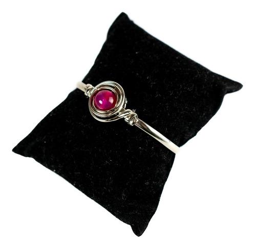 brazalete alpaca mujer pulsera agata rosa talle 2