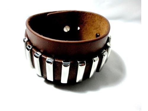 brazalete de acero inox.cuero natural.regulable