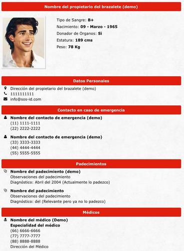 brazalete de identificación para niños, 3a edad, color rojo