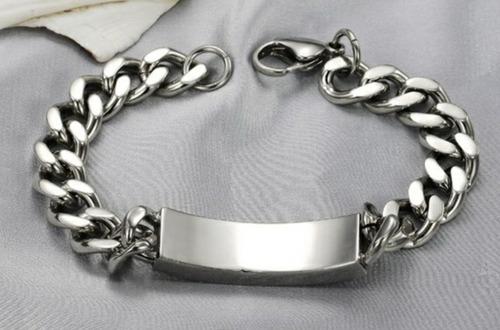 brazalete esclava pulsera acero inoxidable gruesa grecas