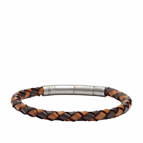 Brazalete Fossil Jf00509797 Braided Brown Para Hombre