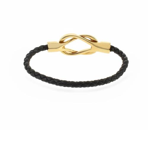 brazalete moru oro pulido y semicaucho negro