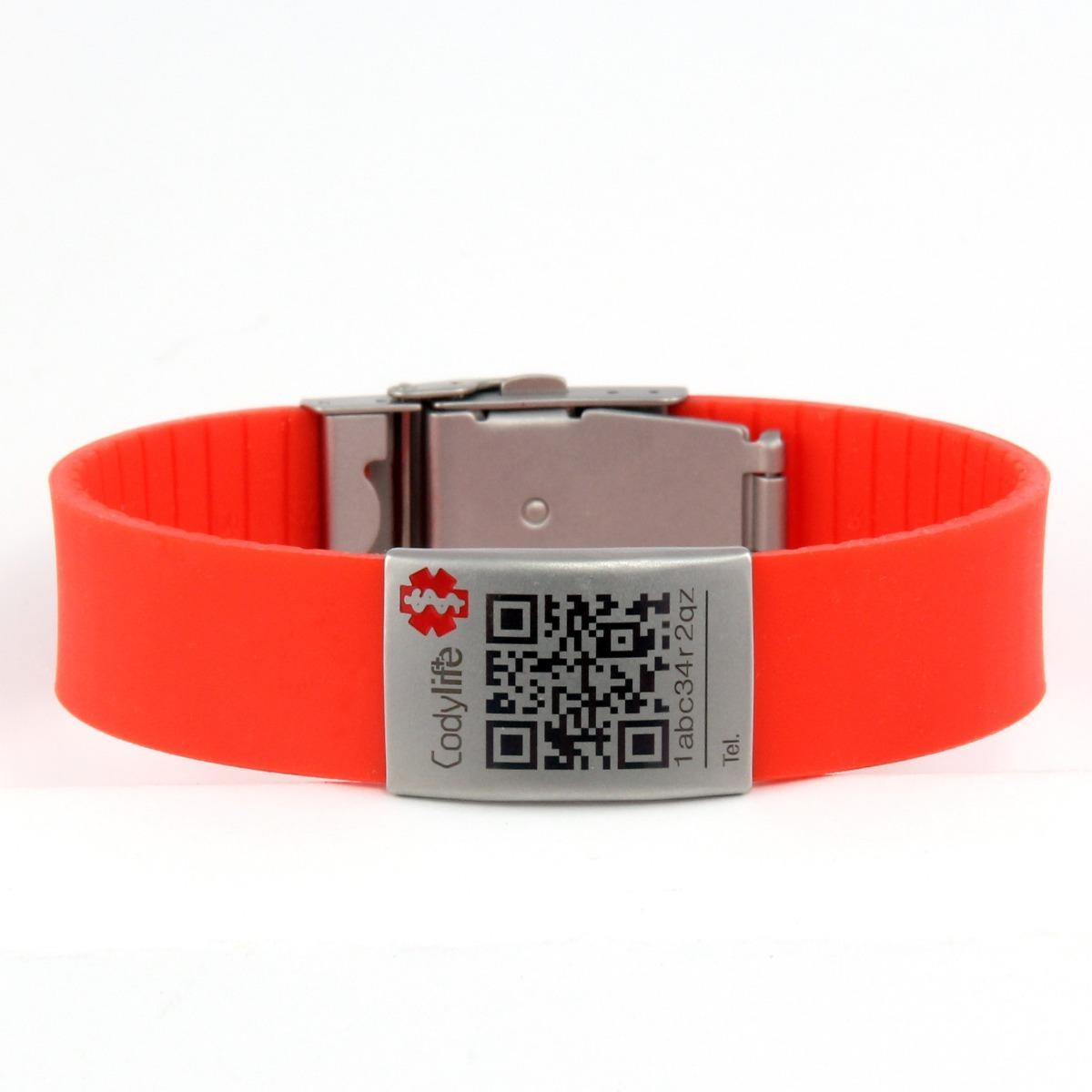 808abafea3ec brazalete o pulsera con qr de identificación personal rojo. Cargando zoom.