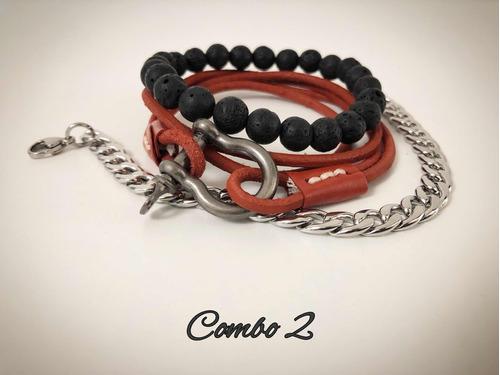 brazalete pulsera 3en1 para hombre-cuero,acero -p. volcanica