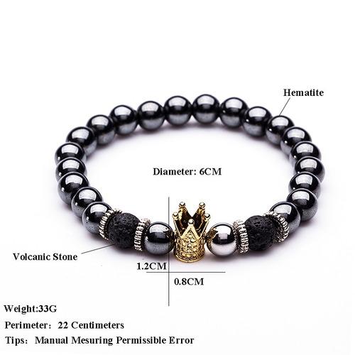 brazalete pulsera corona hematita piedra volcánica hombre