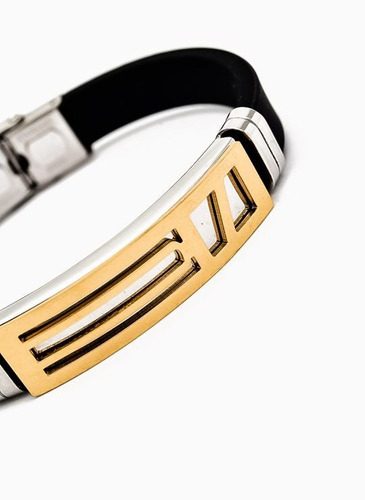 brazalete pulsera hombre acero color oro envios gratis